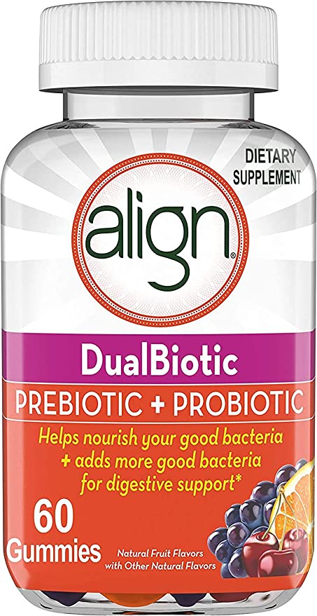 Align DualBiotic, Prebiotic + Probiotic for Men And Women, Help nourish and add good bacteria for digestive support, Natural Fruit Flavors, 60 Gummies