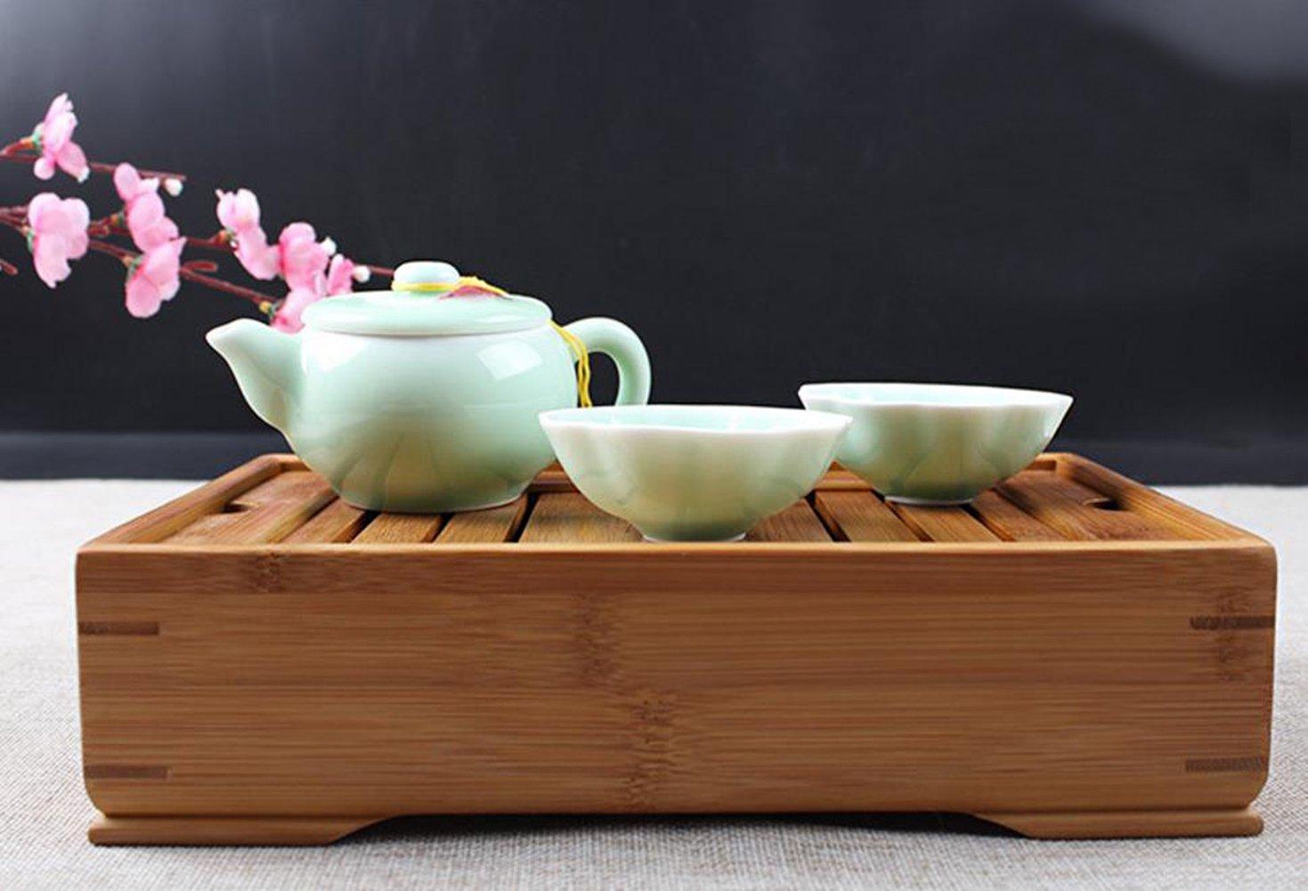Hoobar Reservoir Type Bamboo Tea Tray - Chinese Kungfu Tea Table Serving Tray Box for Kungfu Tea Set by JKCOM (Image #2)