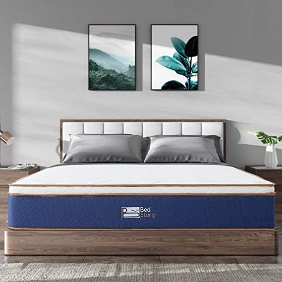 BedStory Twin Mattress - Latex Memory Foam & Strong Pocket Spring Mattress - 10In Medium Firm Innerspring Bed Mattress - CertiPUR-US Certified - Pressure Relieving & Breathable