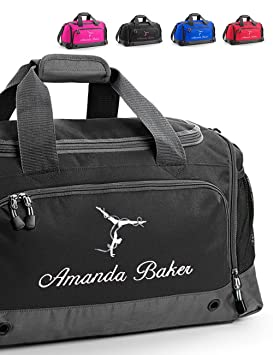 Harlequin Designs Personalised Embroidered Gymnastics Bag, Holdall (Black) 615f2e93b2