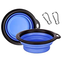 PET BOWL, Multifunctional Foldable Silicone Bowl for Pet- Retractable Travel Protable Water Bowl/Dish with a Metal Carabiner, Also Can be Used as Frisbee Toy for Dogs & Cats