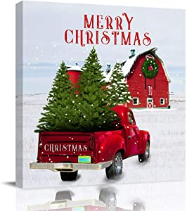 Canvas Wall Art Christmas Vintage Red Truck Barn and Holiday Trees Framed Oil Painting Artwork Print on Wrapped Canvas for Walls Living Room Bedroom Kitchen Office Decor, 12x12 inch