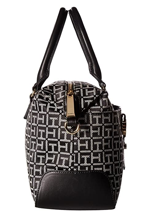 Amazon.com: Tommy Hilfiger Womens Evanna Convertible Satchel Black/White One Size: Shoes