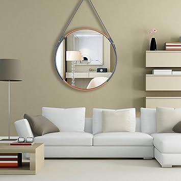 Rumcent Round Wall Mirror Modern Leather Framed Mirror Hanging