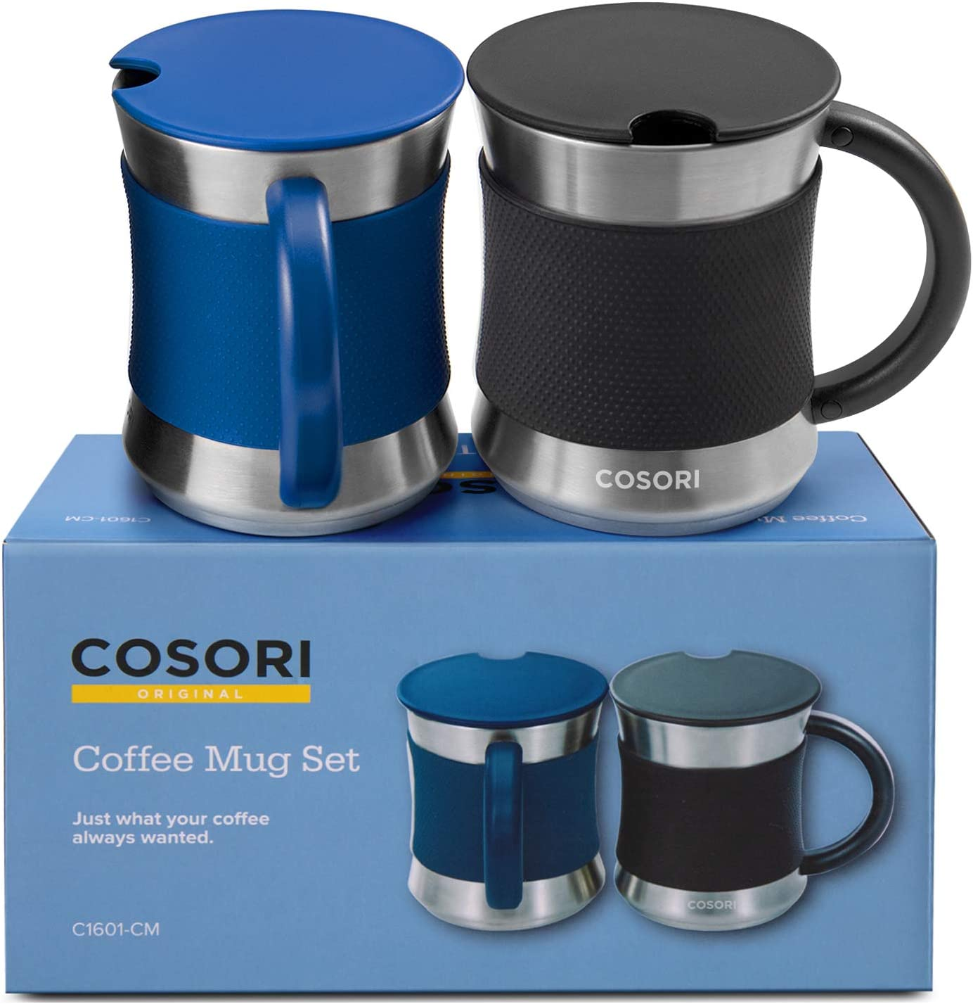 Amazon Com Cosori Coffee Mug With Lids Set Of 2 Stainless Steel Cups With Heat Resistant Handle Slip Resistant Sleeve 17 Oz Best Match W Mug Warmer For Coffee Tea Water Cocoa Milk C1601 Cm Black Blue Kitchen