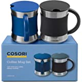 COSORI Coffee Mug with Lids Set of 2, Stainless Steel Cups with Heat-resistant Handle & Slip-resistant Sleeve, 17 oz…