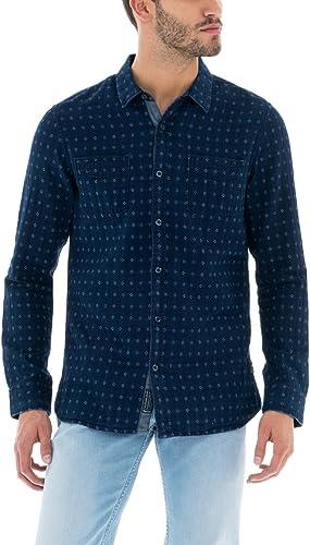 Salsa - Camisa casual - para hombre azul L: Amazon.es: Ropa y accesorios