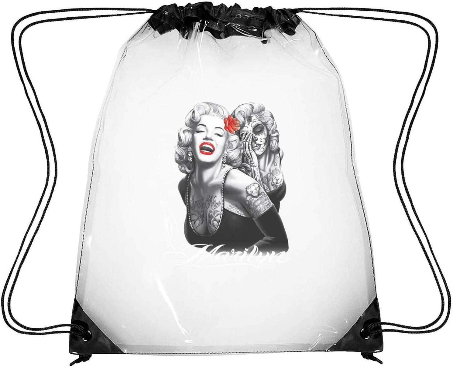 YAYAZAN Clear Drawstring Backpack Film Character Dancing Bag Gym Sports Travel Sack Pack for Men Women