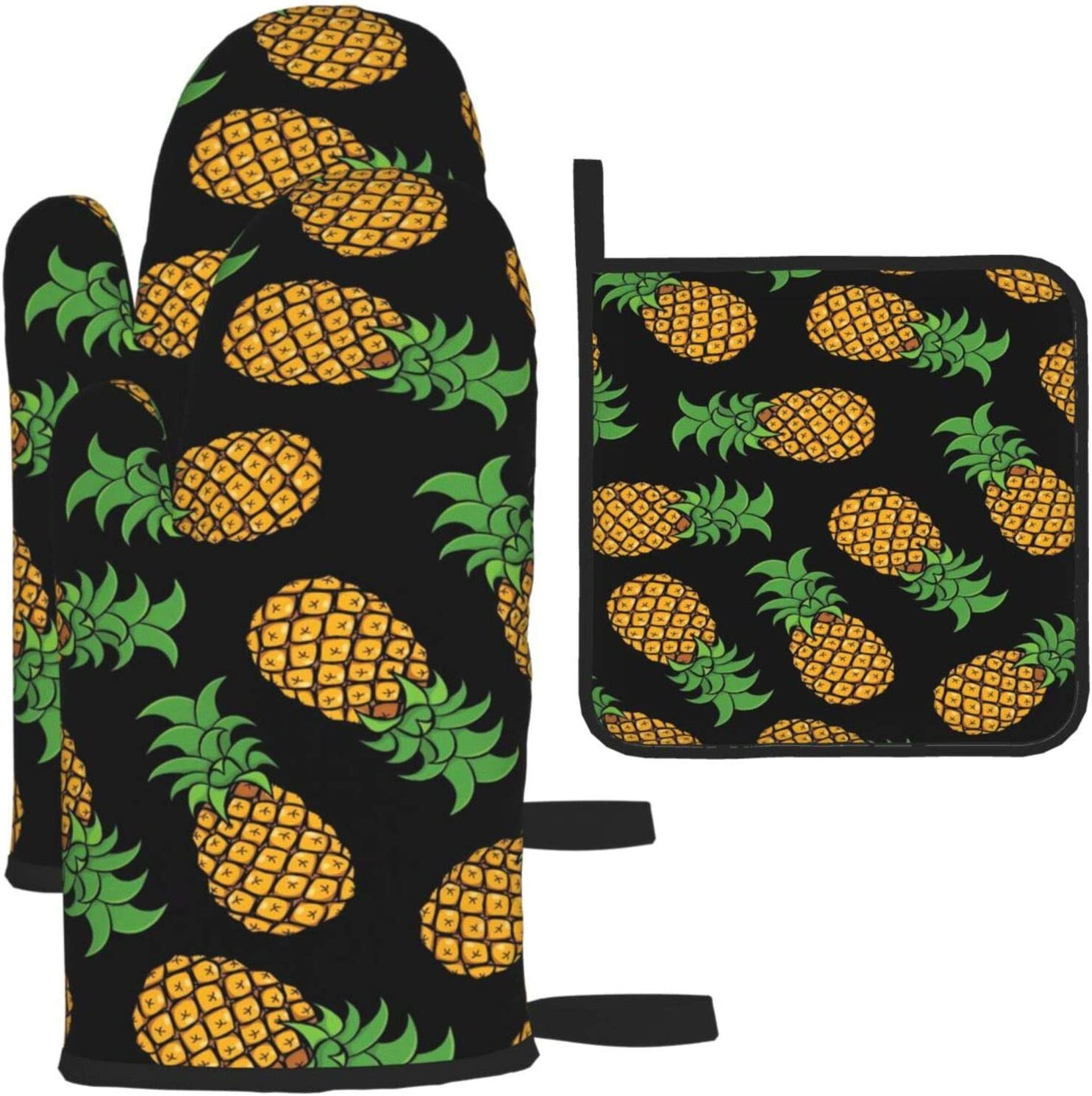 Tropical Pineapple Oven Mitts and Pot Holders Sets Hawaii Summer Fruit Heat Resistant Kitchen Microwave Oven Golves and Hot Pads for Cooking Baking Grilling BBQ