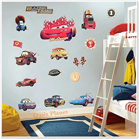 Large Disney Pixar Cars Lightning Mcqueen Mater Childrens Room