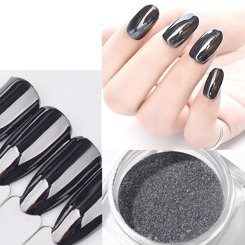 Nail Powder 2Box Black Magic Mirror Chrome Glitter Holograaphic Pigment Mnicure Decoration for Nail Art 2g happy12