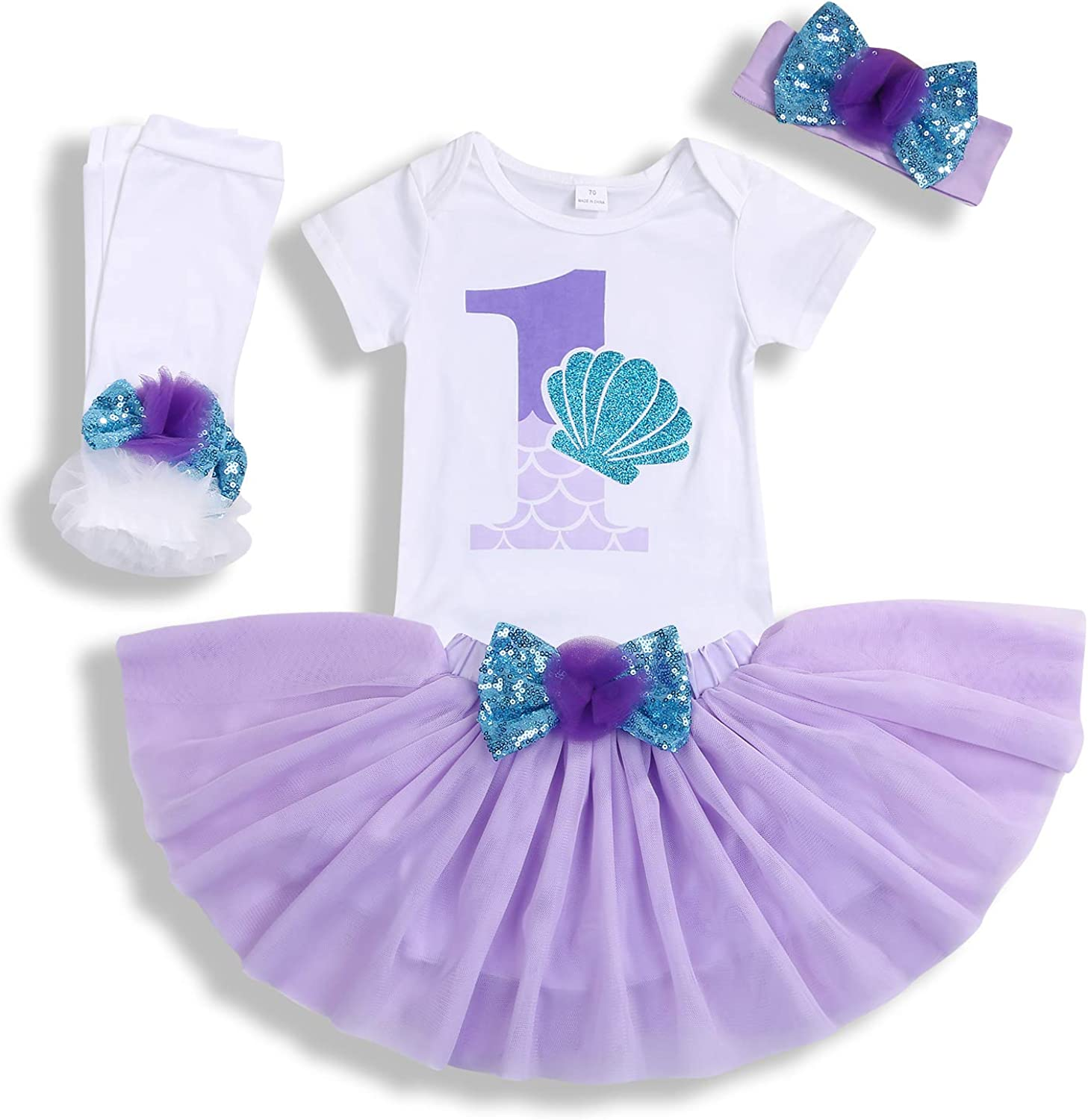 Baby Girls 1st Birthday Mermaid Outfit Romper Headband Leggings Tutu Dress Sequin Bowknot Princess Skirt Sets