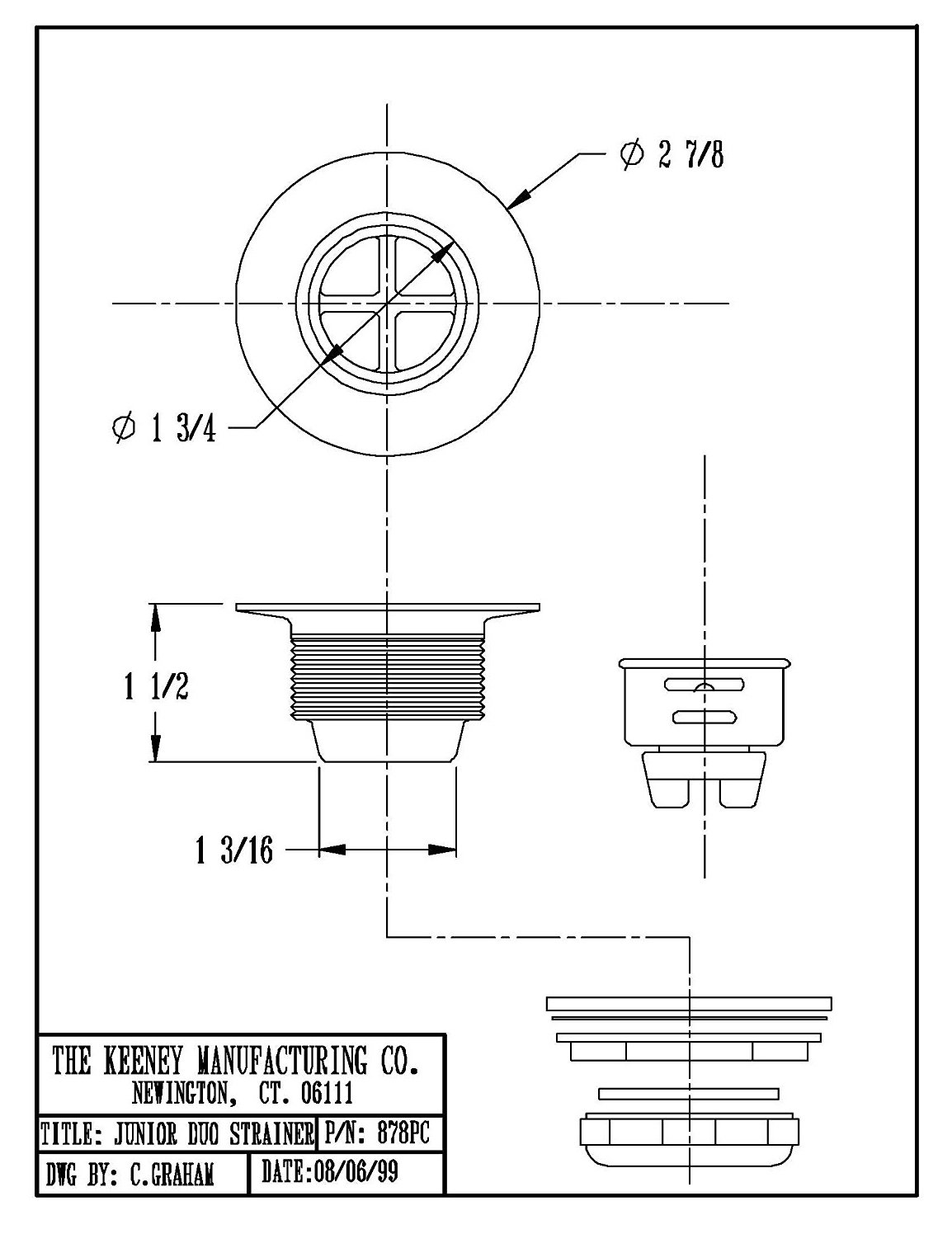 Keeney 878PC Bar Sink Strainer, Stainless Steel by Keeney Manufacturing (Image #3)