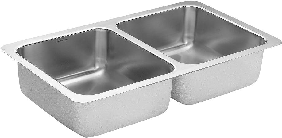 Moen G18210 1800 Series 18 Gauge Double Bowl Undermount Sink, Stainless  Steel