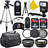 Professional 52MM Accessory Bundle Kit For Nikon D3300 D3200 D3100 D5000 D5100 D5200 D5300 D5500 D7000 D7100 D7200 & DSLR Cameras , 15 Nikon Accessories