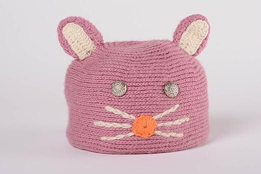 Gorro tejido de lana con dos agujas artesanal de color rosado ...