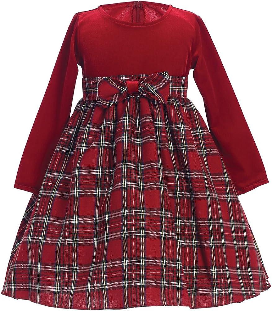 Lito Holiday Fall NEW Surprise price Christmas Stretch Dress Plaid Girls Velvet