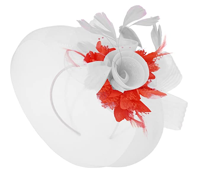 9f8ff8a123a5e Caprilite White Feather Flower Fascinator Hat Veil Net Headband Clip Ascot  Derby Races Wedding