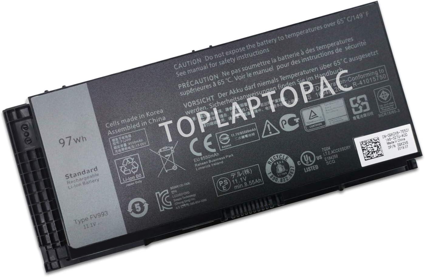 New 11.1V 97Wh FV993 Laptop Battery Compatible with Dell Precision M4600 M4800 M6600 M6800 FJJ4W PG6RC 7DWMT JHYP2 K4RDX