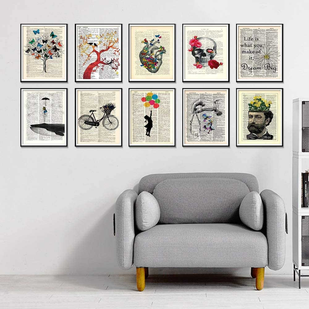 Geiqianjiumai Diccionario Antiguo Bicicleta Arte impresión Arte impresión Dormitorio Pared Imagen Pared Arte Pintura Carteles e Impresiones Pintura sin Marco 65x90cm: Amazon.es: Hogar