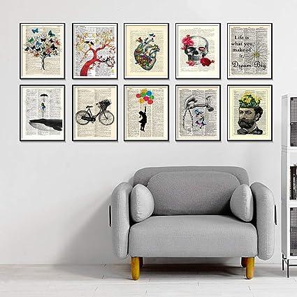 Geiqianjiumai Antiguo Diccionario Bicicleta Arte impresión Arte ...