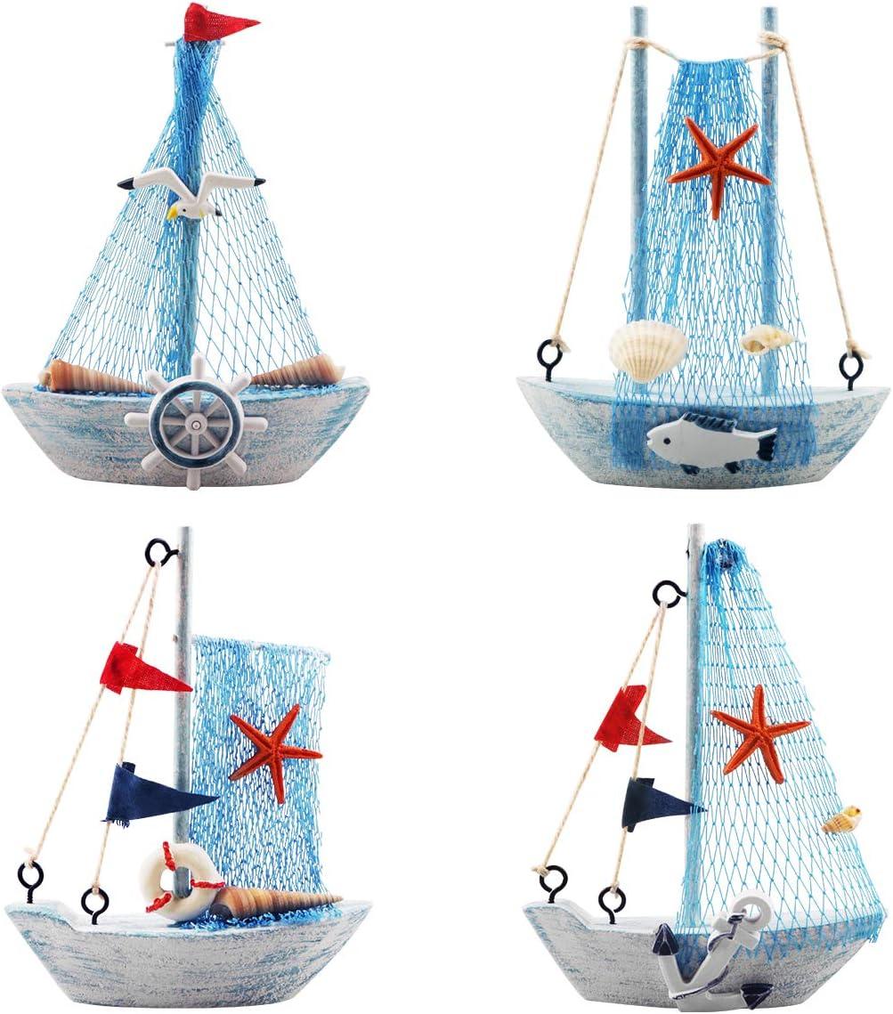 Hobbies Sky Blue Yiya 4pcs Mini Sailboat Model Decoration Nautical Sailboat Decor For Office Bedroom Desktop Decoration Nautical Theme Home Decoration Models Model Kits