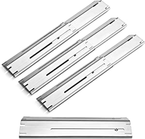 Unicook Grill Heat Plate 4 Pack, Heavy Duty Stainless Steel Heat Shield Replacement Parts, Adjustable BBQ Flame Tamer, Burner Cover, Flavorizer Bar for Gas Grill, Extend from 11.75