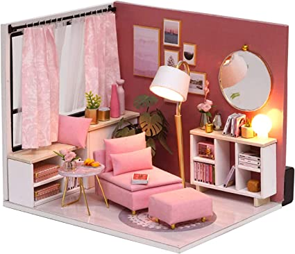 Flever Dollhouse Miniature DIY House Kit Creative Room with Furniture and Glass Cover for Romantic Artwork Gift Diary of Cake