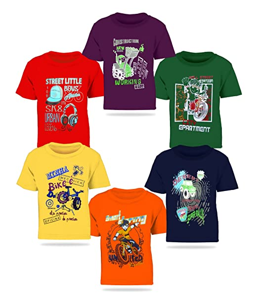 6f962490b0c17 Kiddeo Boy s Cotton T-Shirt - Pack of 6  Amazon.in  Clothing ...