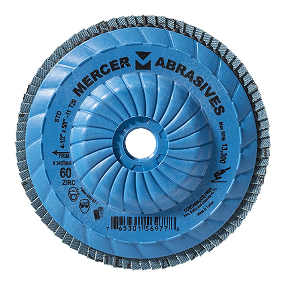 Mercer Industries 342T060 Standard Type 29, 4-1/2''x 5/8''-11 Grit 60 Zirconia Flap Disc Trimmable (10 Pack)