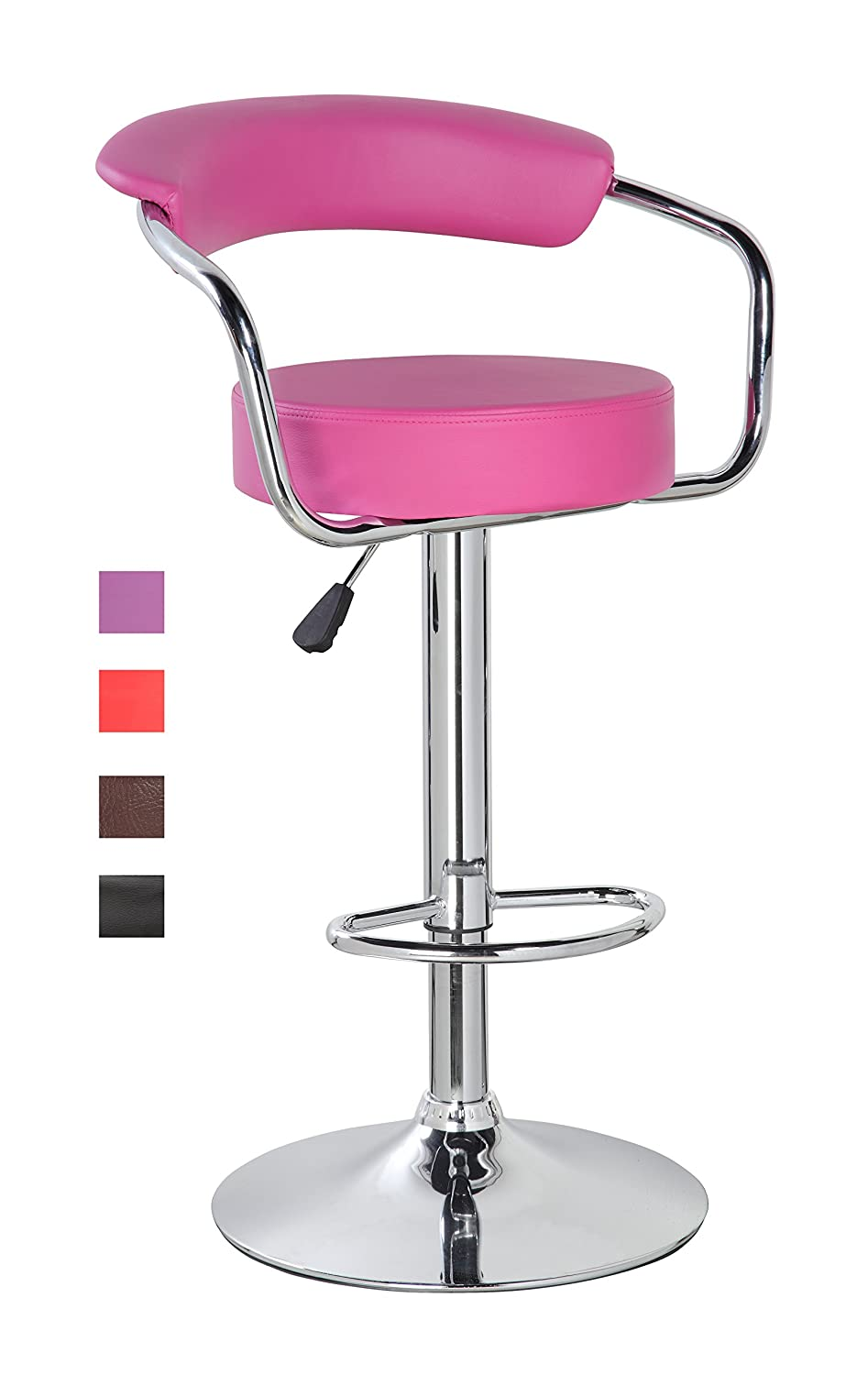 Amazon.com KERLAND PU Leather Swivel Adjustable Seat Height Home Kitchen Bar Stool Chair With Padded Back And Chrome Footrest Pink Kitchen u0026 Dining  sc 1 st  Amazon.com & Amazon.com: KERLAND PU Leather Swivel Adjustable Seat Height Home ... islam-shia.org