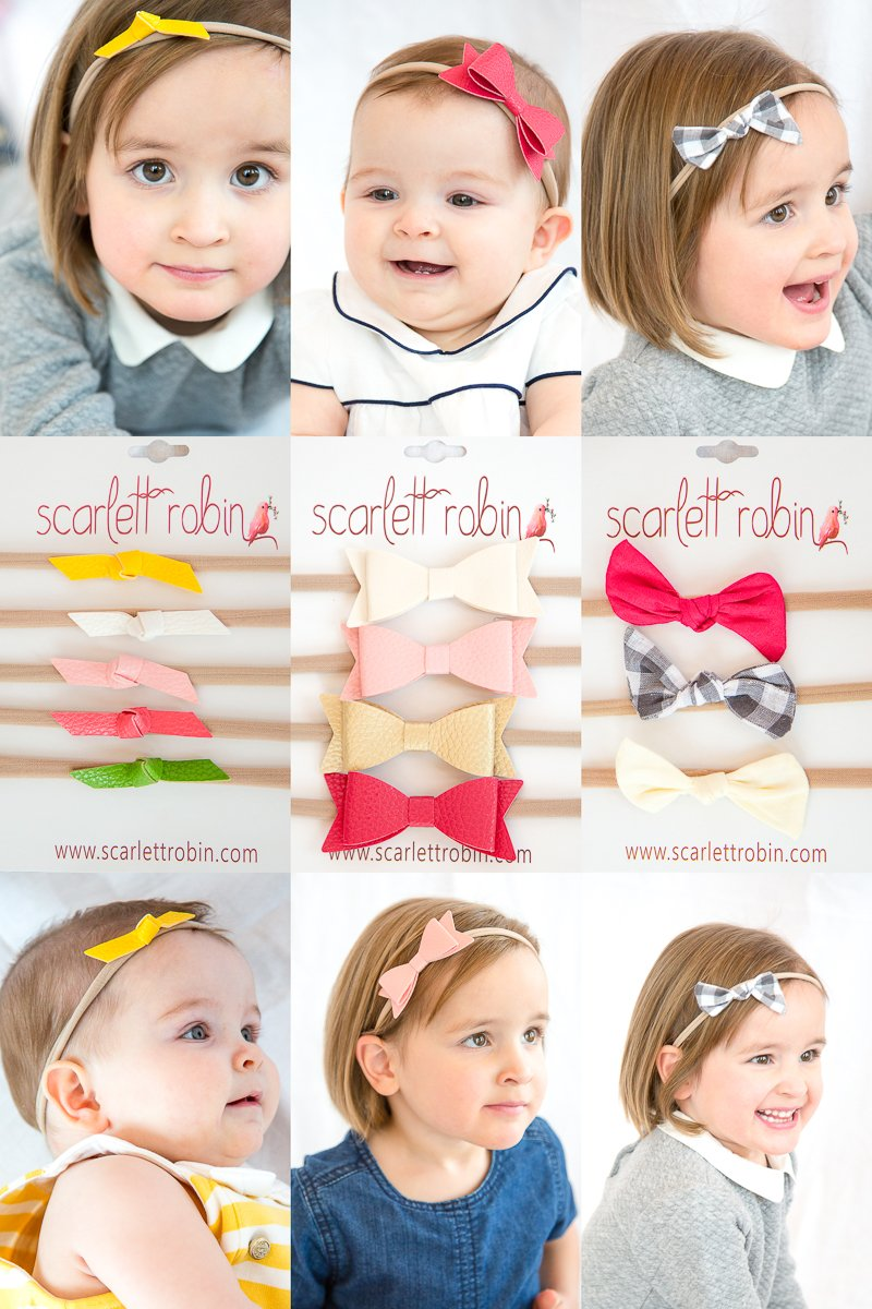 """12 Hair Bows for Girls and Babies on Nylon Headbands Multi-Pack {""""Vogue Pack""""}"""