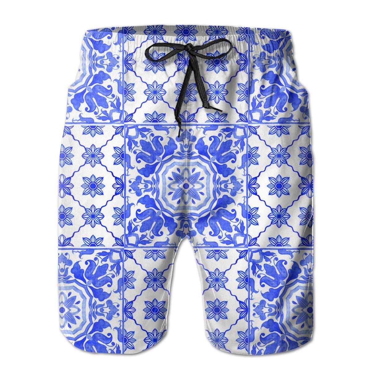 FUNSTYEET Portuguese Azulejo Tiles Blue White Mens Board Shorts Swim Mesh Lining and Side Pocket