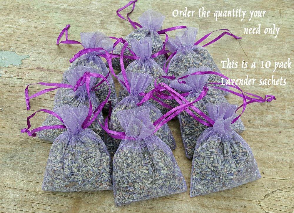 Findlavender - Lavender Sachet Bulk Bag of 10 Sachets - Filled with one of The Most fregrant Lavender Plants (Grosso) by Findlavender (Image #1)