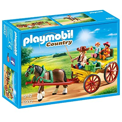 PLAYMOBIL Horse-Drawn Wagon Building Set: Toys & Games