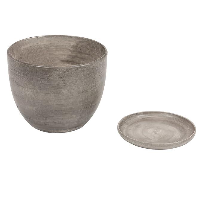 Pot De Fleur Ceramique Baril Avec Support Soucoupe Hauteur 13 Cm