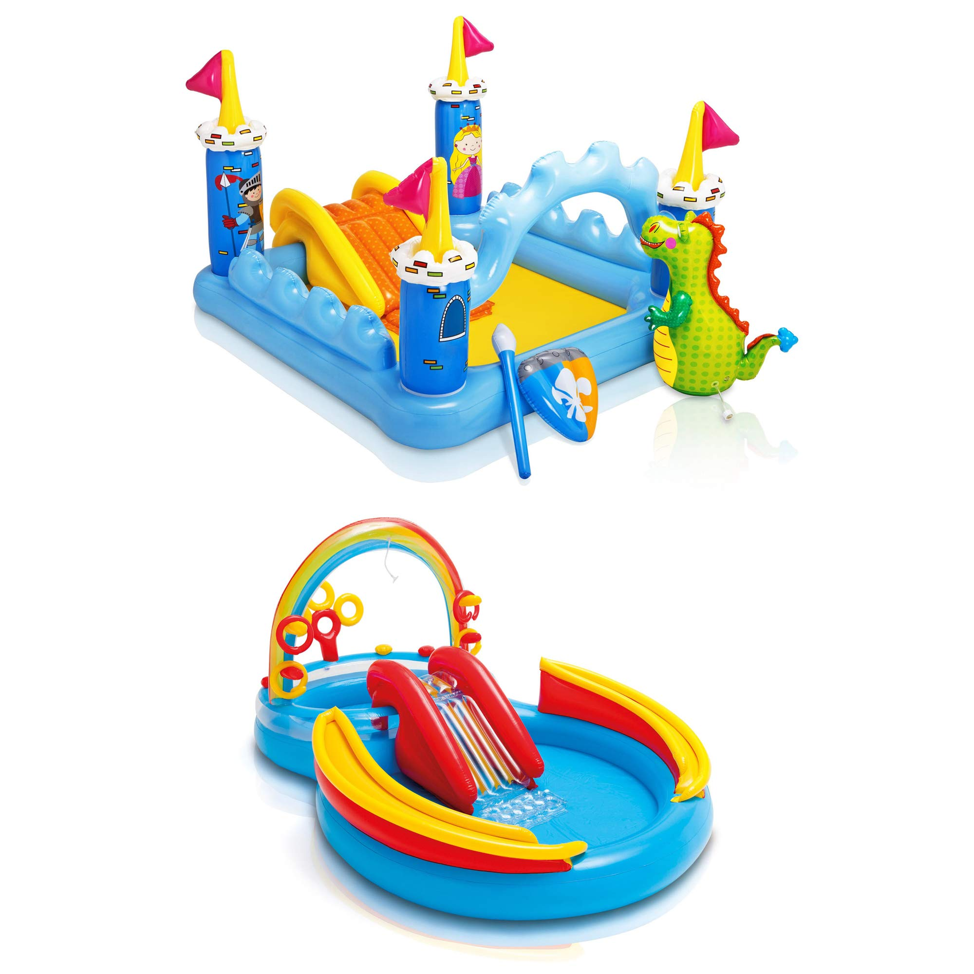 Intex Inflatable Fantasy Castle & Rainbow Ring Water Play Swimming Pool Center by Intex (Image #1)