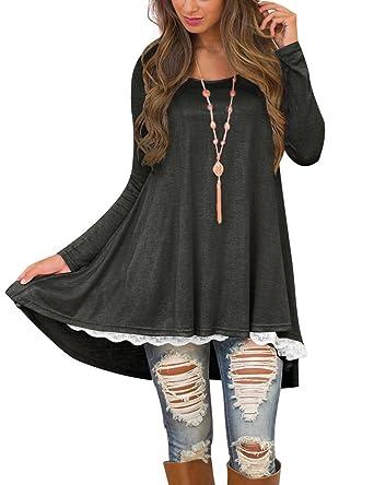 249e836031b Omerker Women's Spring Long Sleeve Loose Tunic Tops for Leggings Cotton  Tunic Shirts Blouses (Medium, Grey) at Amazon Women's Clothing store: