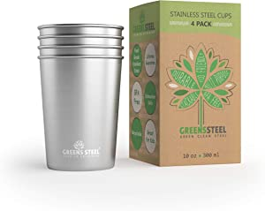 10oz Stainless Steel Cups - Metal Drinking Cups For Kids - BPA free (4 Pack)