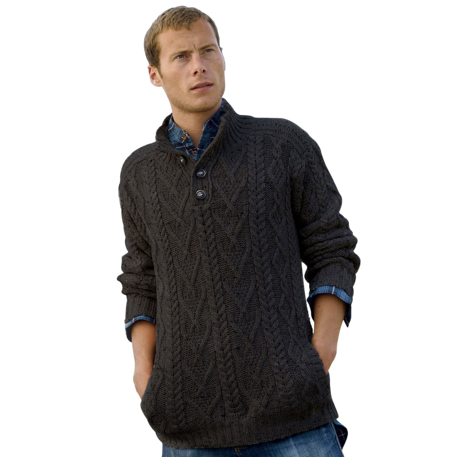 100% Irish Merino Wool Traditional Button Neck Aran Sweater by West End Knitwear, Charcoal Gray, Large