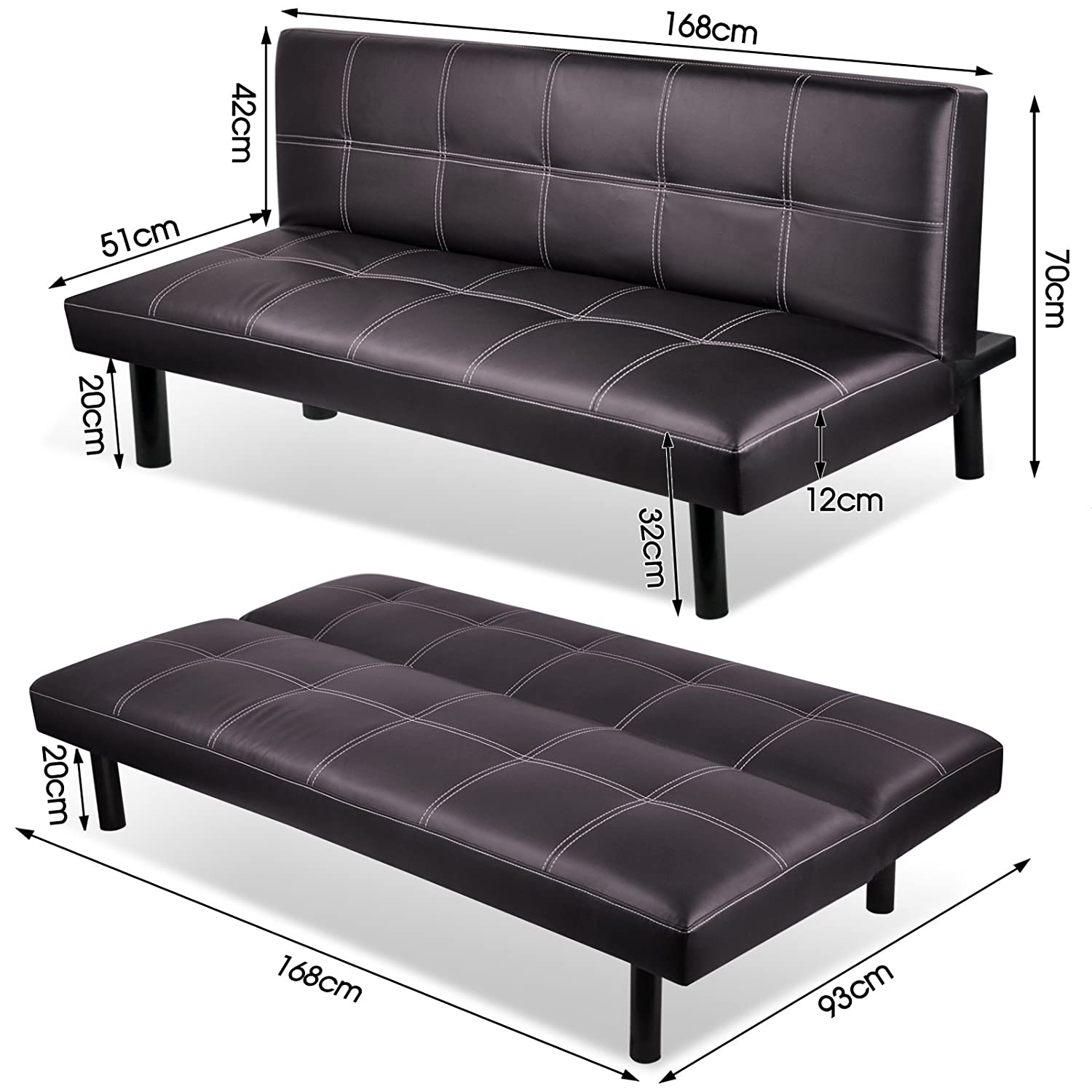 Modern PU Leather 3 Seater Sofa Bed Fold Down Table Living Room
