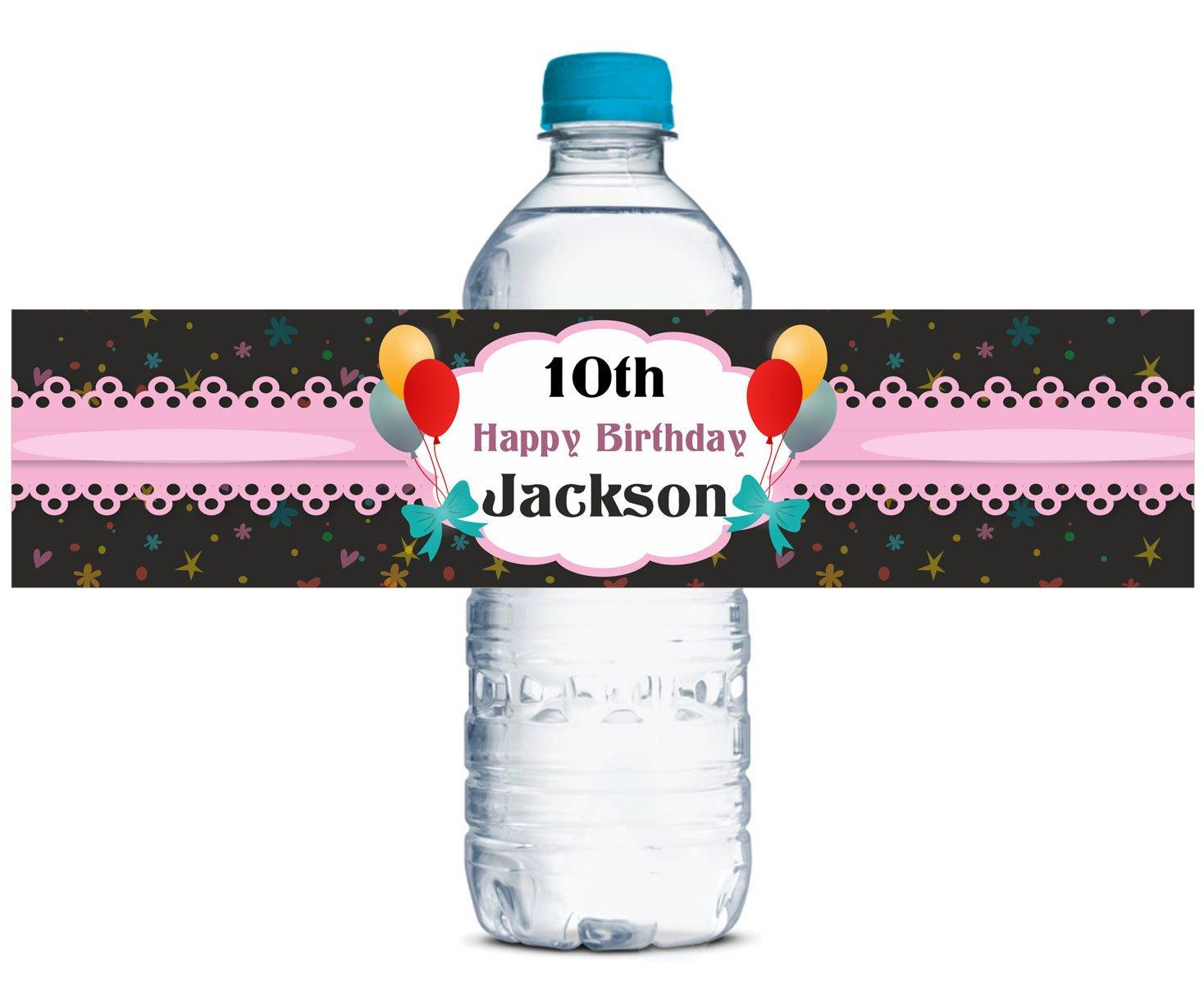 Birthday Party Wasserdicht Wasserflasche Sticker Selbstklebeetikette 8  x 2  Zoll - 60 Etiketten