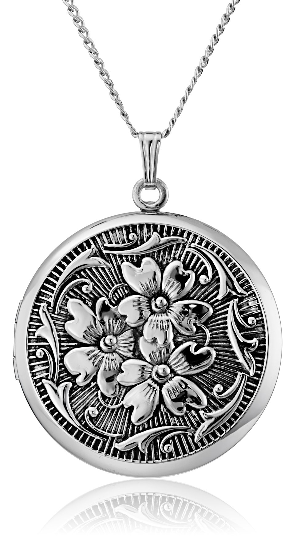 Sterling Silver Round Embossed Antique Finish Locket Necklace, 20'' by Amazon Collection