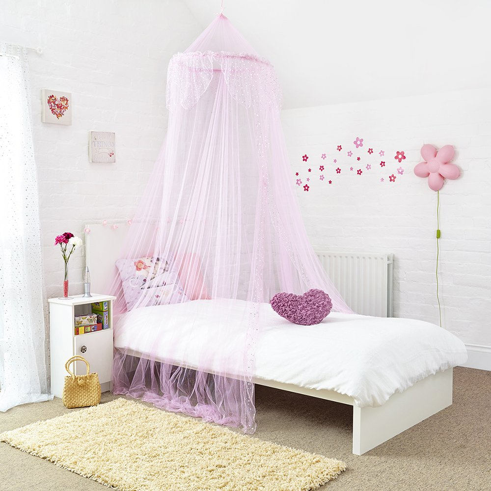 Home and More Store Princess Bed Canopy - Beautiful Silver Sequined Childrens Bed Canopy in Pink - Single Bed Mosquito Nets 4 U ®