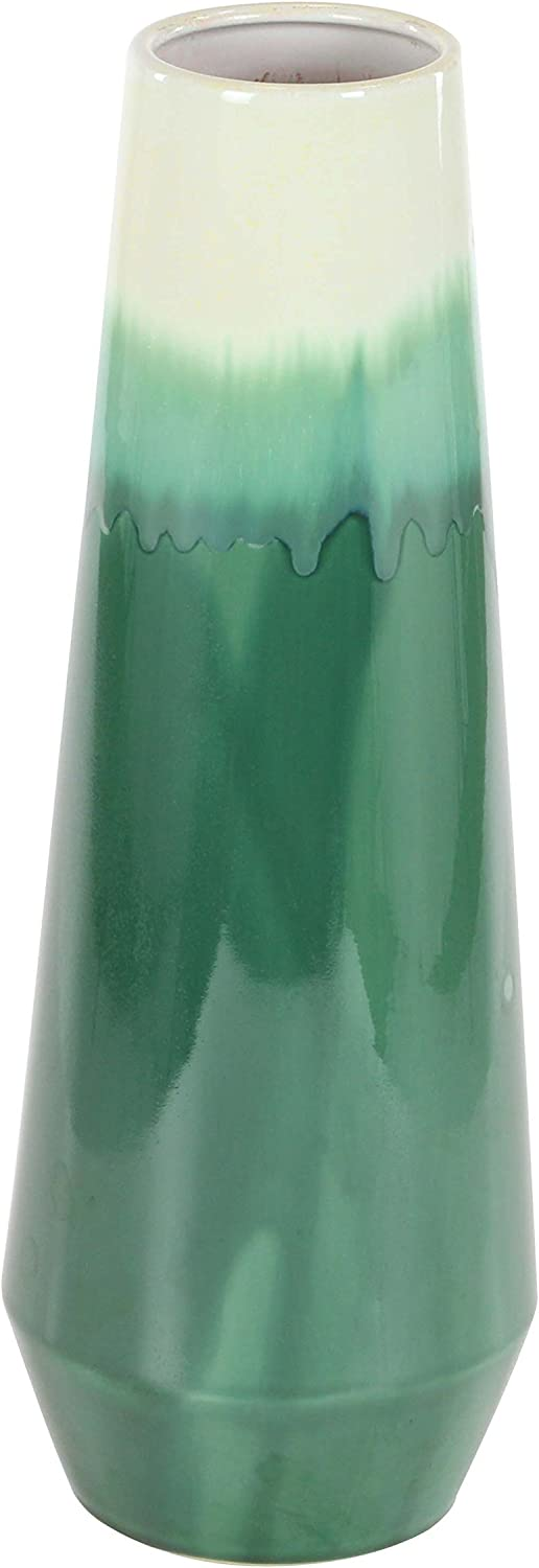 "Deco 79 59934 Polished Ceramic Tapered Cylindrical Vase, 23"" x 7"", White/Green"
