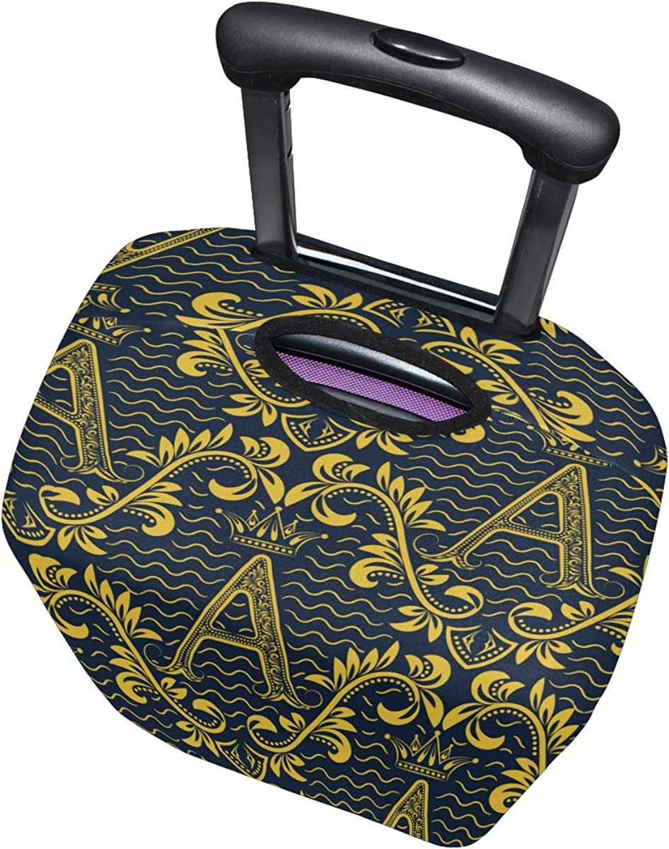"""Baroque Flower Pattern Alphabet Letter /""""A/"""" Luggage Cover Travel Suitcase Protector Fits 18-21 Inch Luggage"""