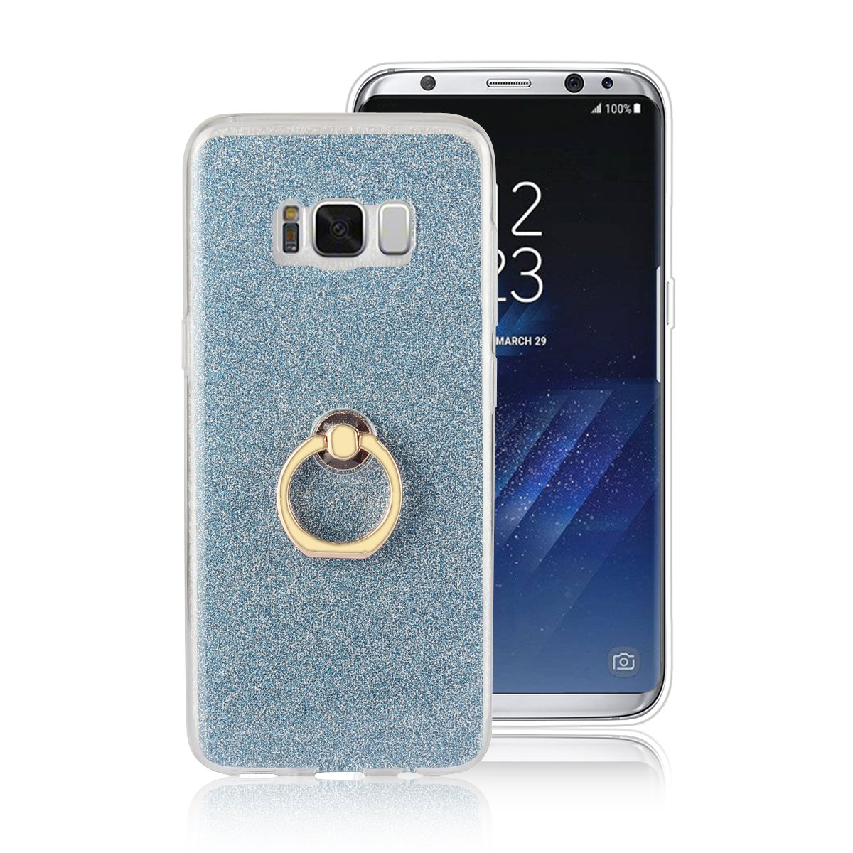 Galaxy S8 Case, Gostyle Samsung Galaxy S8 Bling Glitter Clear Ultra Slim Cover, Soft TPU Silicone with Ring Holder Anti-Scratch Shockproof Protective Cover for Samsung Galaxy S8, Golden