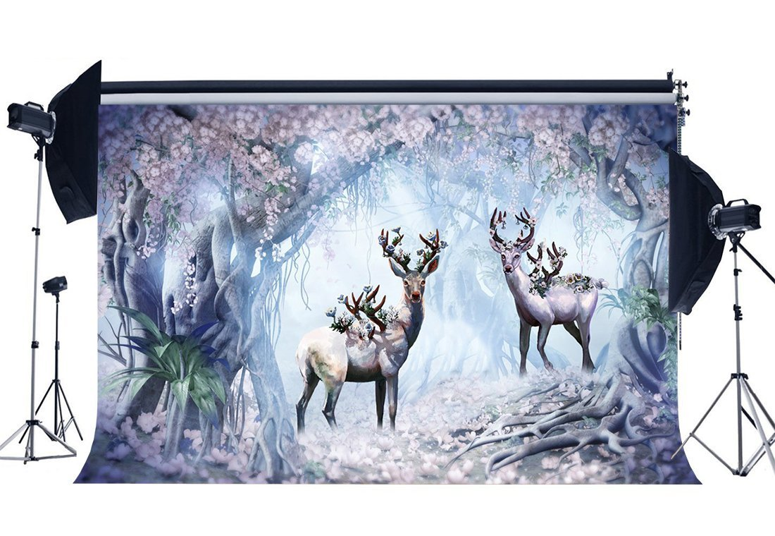 gladbuy Fairytale Sika Deer Backdrop 7 x 5ftビニールDreamy Wonderland Backdrops Blooming Fresh花ジャングルフォレストファンタジー風景写真背景のガールズ誕生日フォトスタジオ小道具kx998   B07FZGFSYB