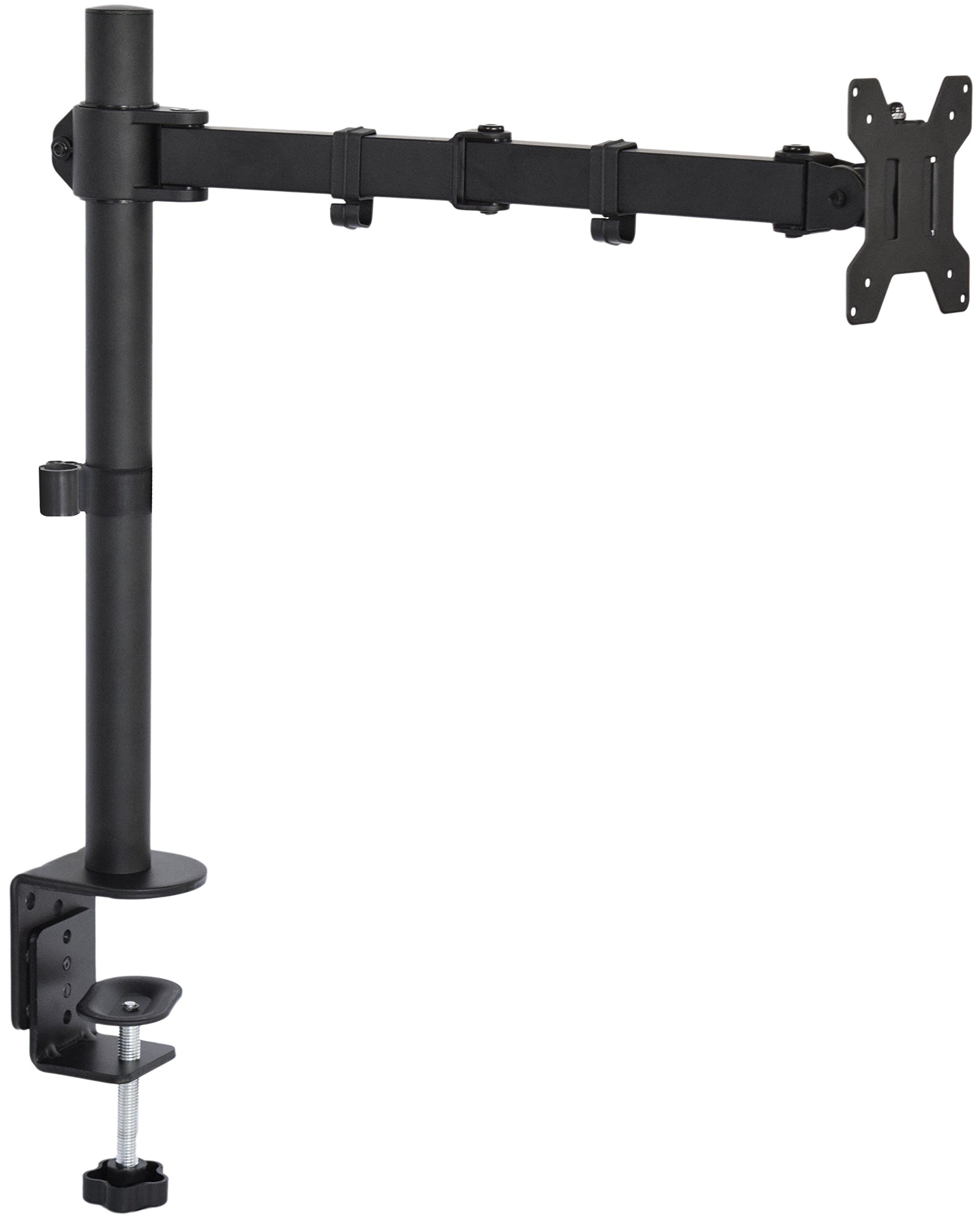 VIVO Single LCD Monitor Desk Mount Stand Fully Adjustable/Tilt/Articulating for 1 Screen up to 27'' (STAND-V001)