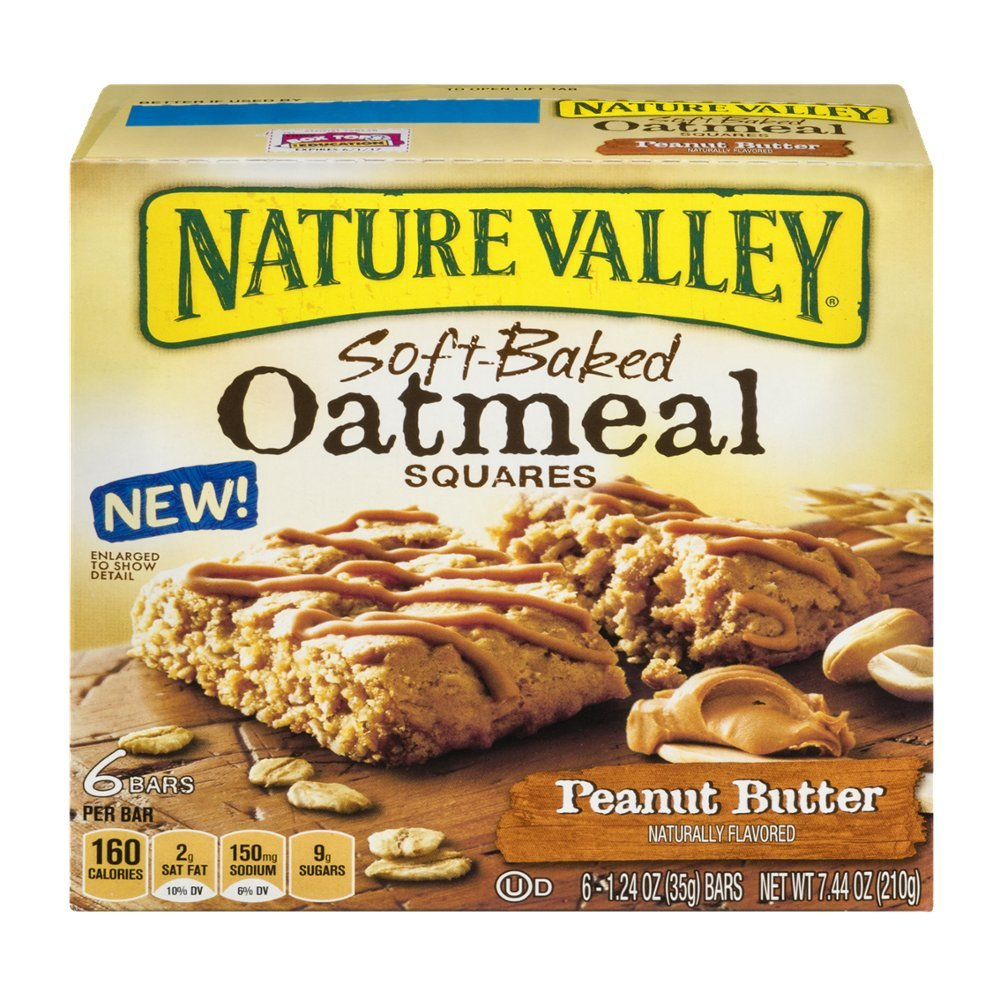 Nature Valley Soft-Baked Oatmeal Squares, Peanut Butter, 7.44 Ounce (Pack of 4)